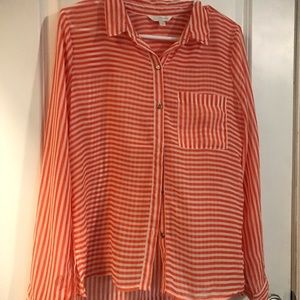Orange and white striped button-down shirt